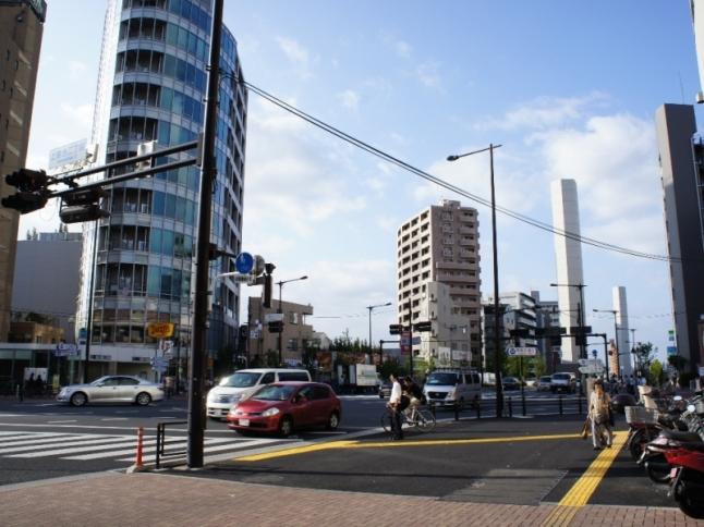 電柱が埋められ、代わりに木を植え並木道になったマンション前の山手通り。